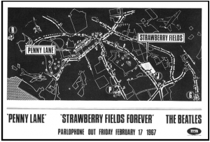 Publicité pour la sortie du disque simple Penny Lane/Strawberry Fields Forever 1967. (EMI Records Limited)