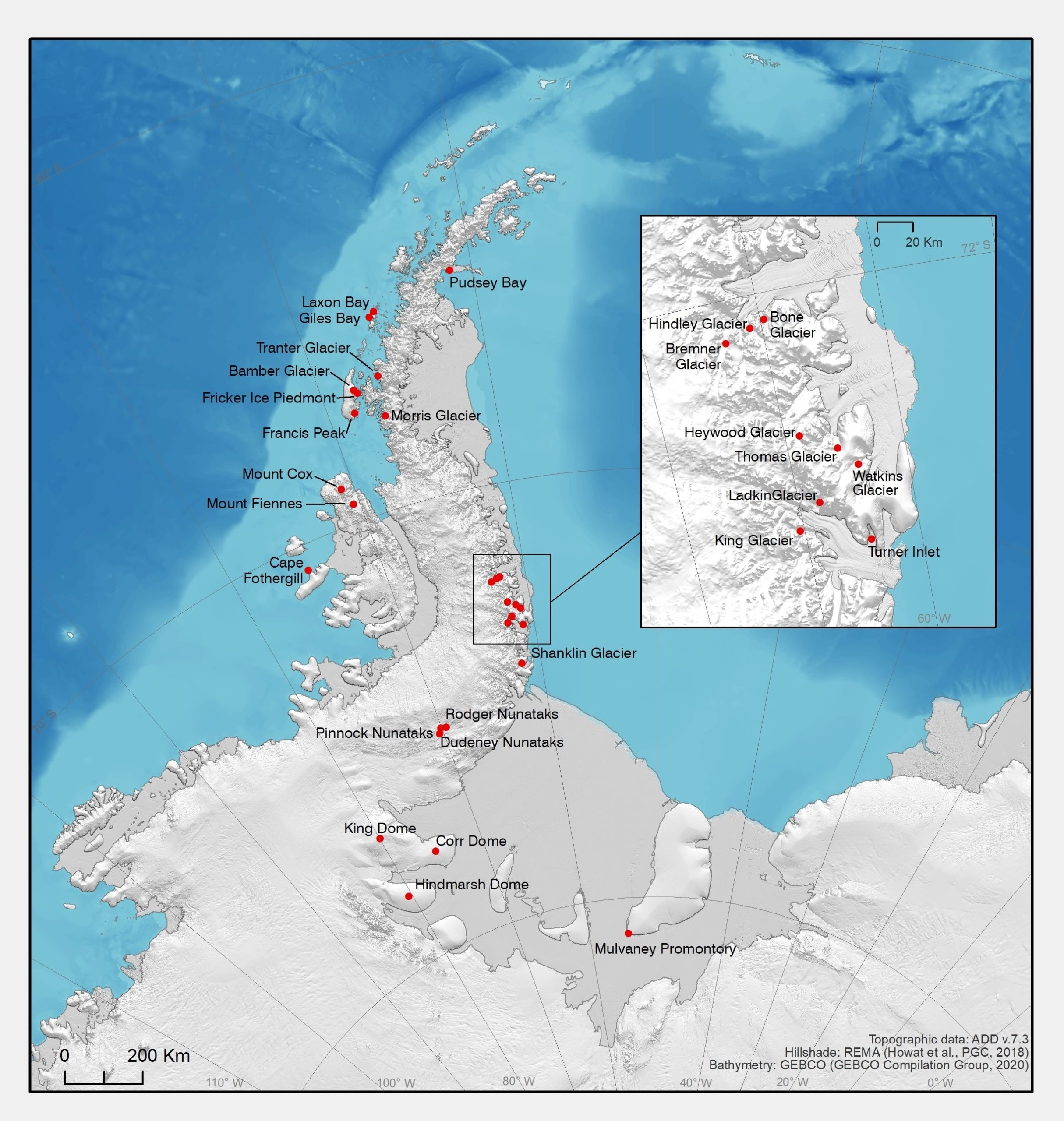 Map of new place-names announced to mark 200th anniversary of the discovery of Antarctica, 2020
