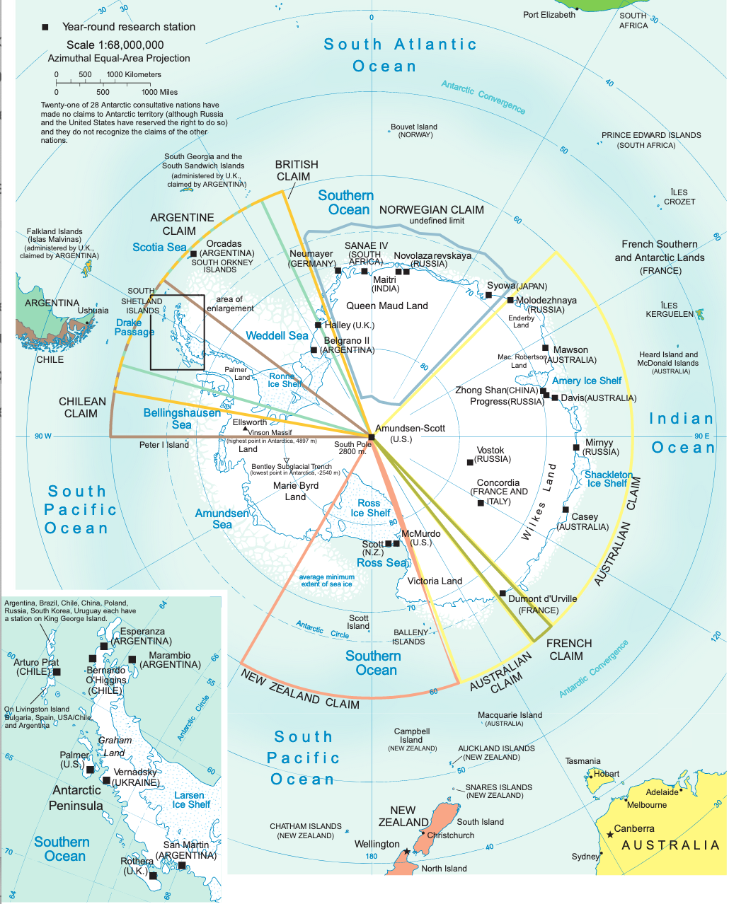 Territorial Claims ans Stations in Antarctica