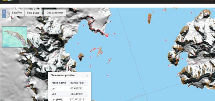 Capture de la carte interactive des noms de lieux du UK Antarctic Place-Names Committee