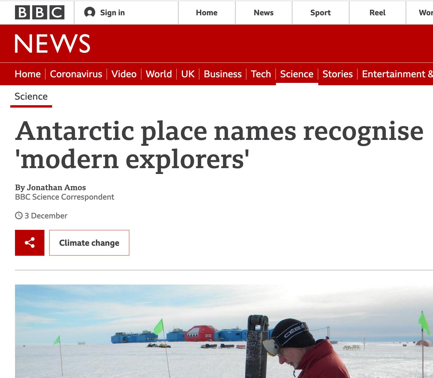 L'annonce de l'opération de place naming par BBC News qui met en avant le choix d'explorateur.trices contemporain.es