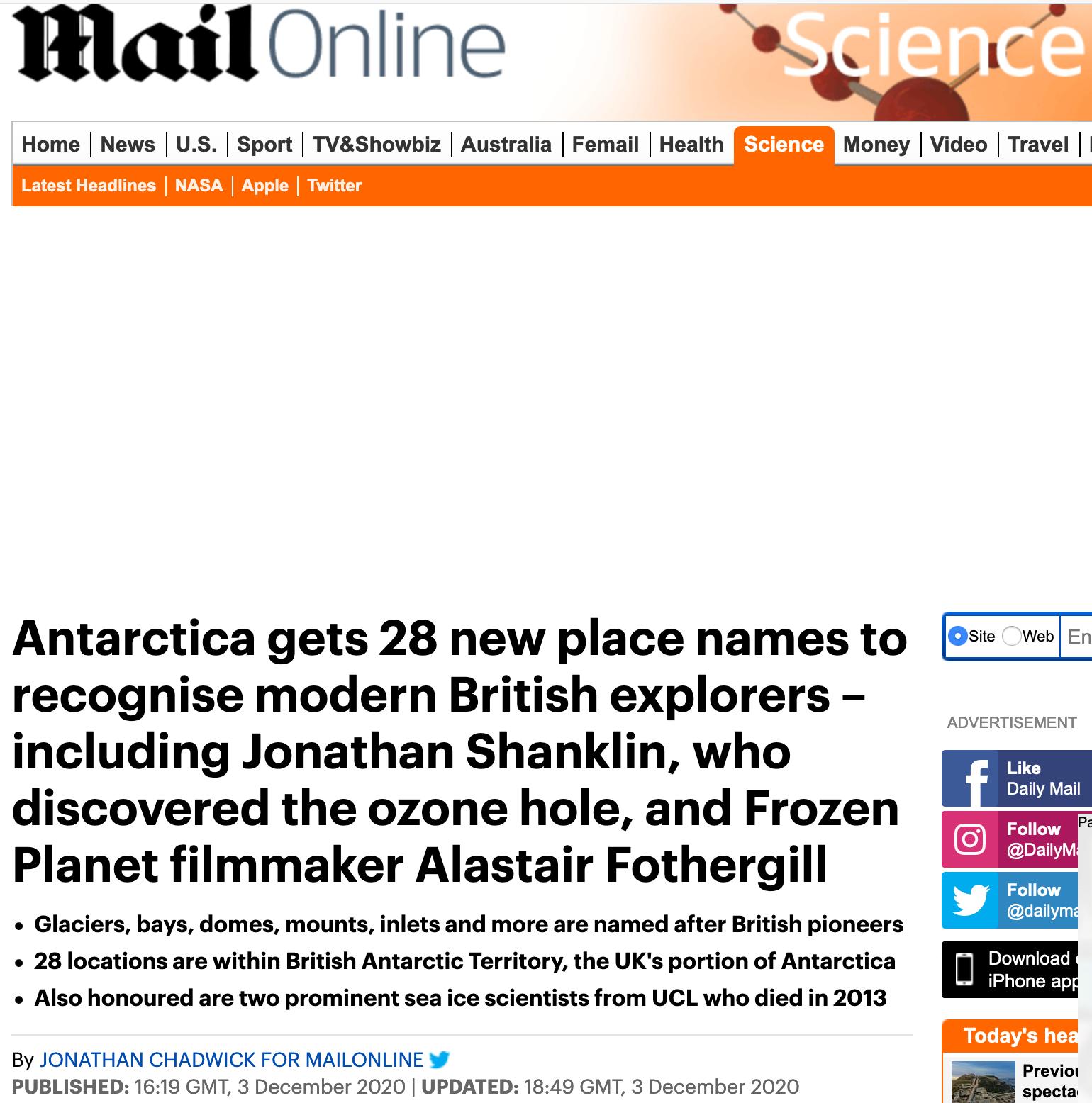 L'annonce de l'opération de place naming par Mail Online section Science, qui met en avant la nationalité des personnalités et leur notoriété au Royaume Uni