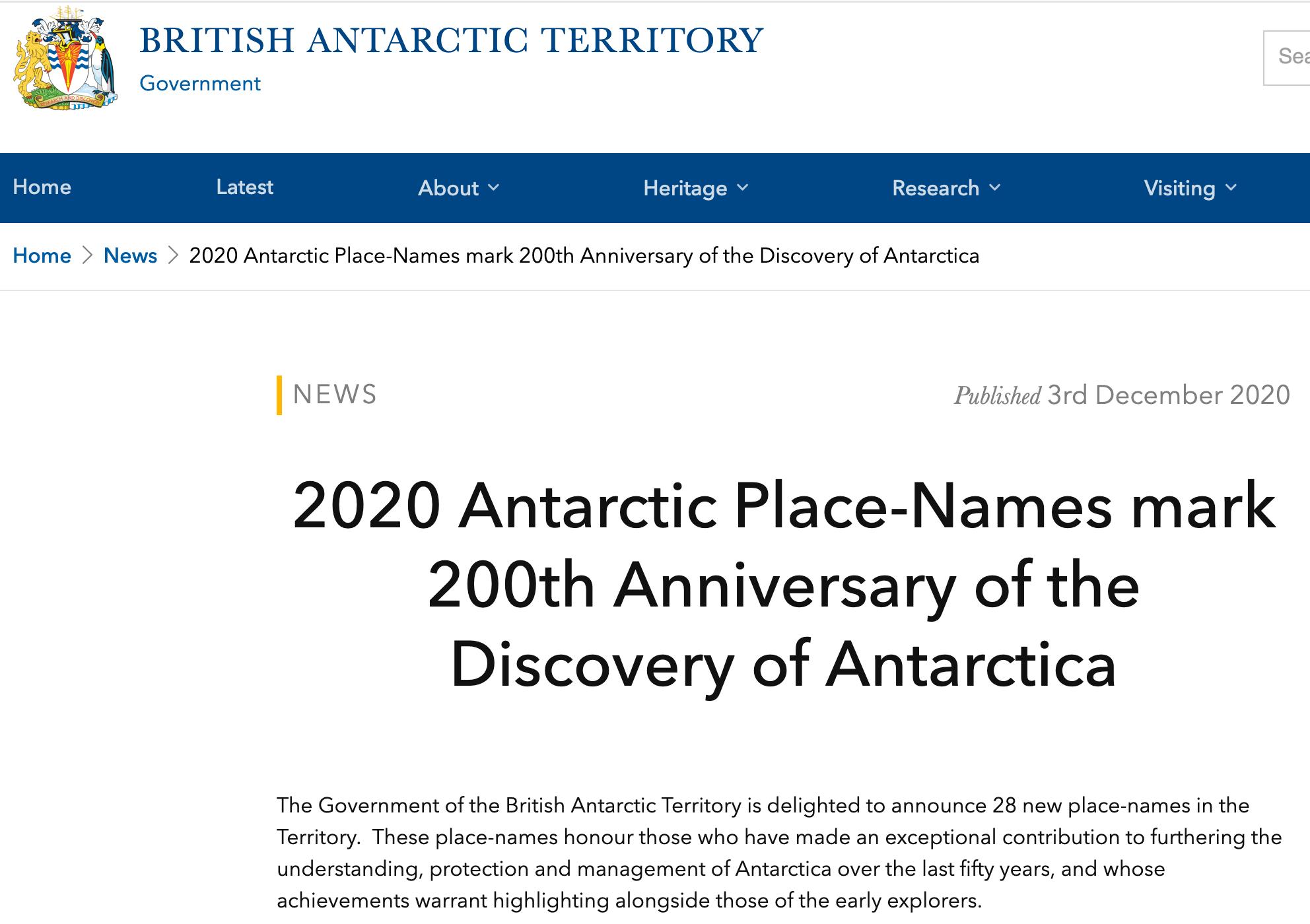 """The so called """"Government of the British Antarctic Territory"""" annonce l'opération de dénomination en l'honneur de celles et ceux, qui dans les cinquante dernières années, ont apporté une contribution exceptionnelle à la connaissance, protection et gestion de l'Antarctique, sans mentionner leur nationalité exclusivement britannique"""
