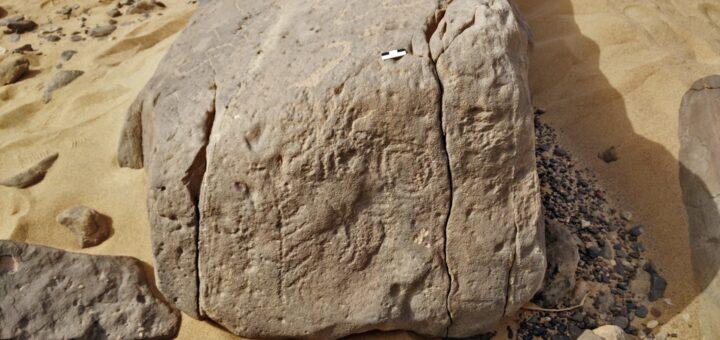 """L'inscription rupestre avec les quatre hiéroglyphes : """"Domaine d'Horus-roi Scorpion"""" © Ludwig Morenz"""