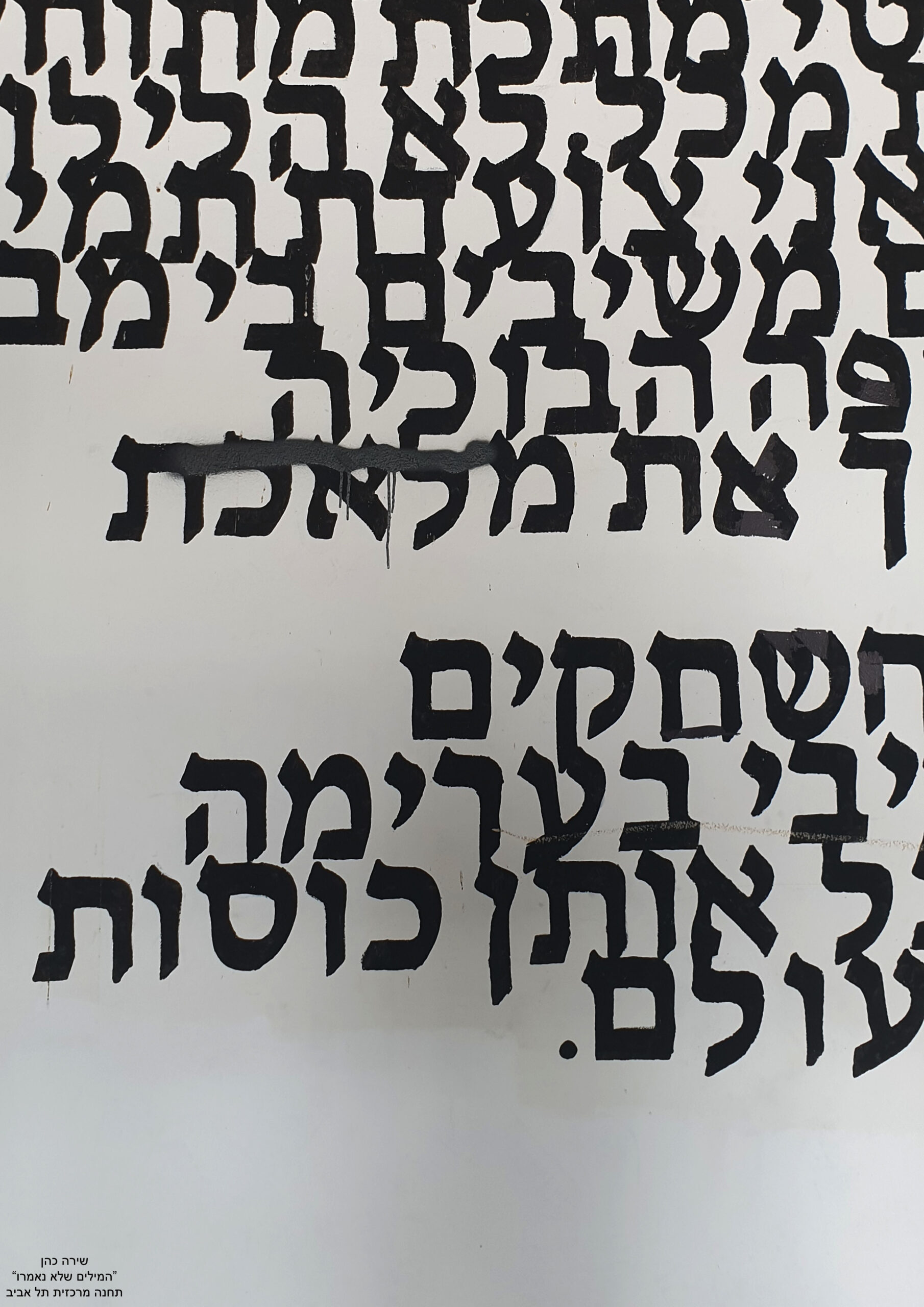 A wall section in Tel Aviv's New Central Bus Station, inscribed by a personal poem about violation of a woman's body. Photo: Shira Cohen
