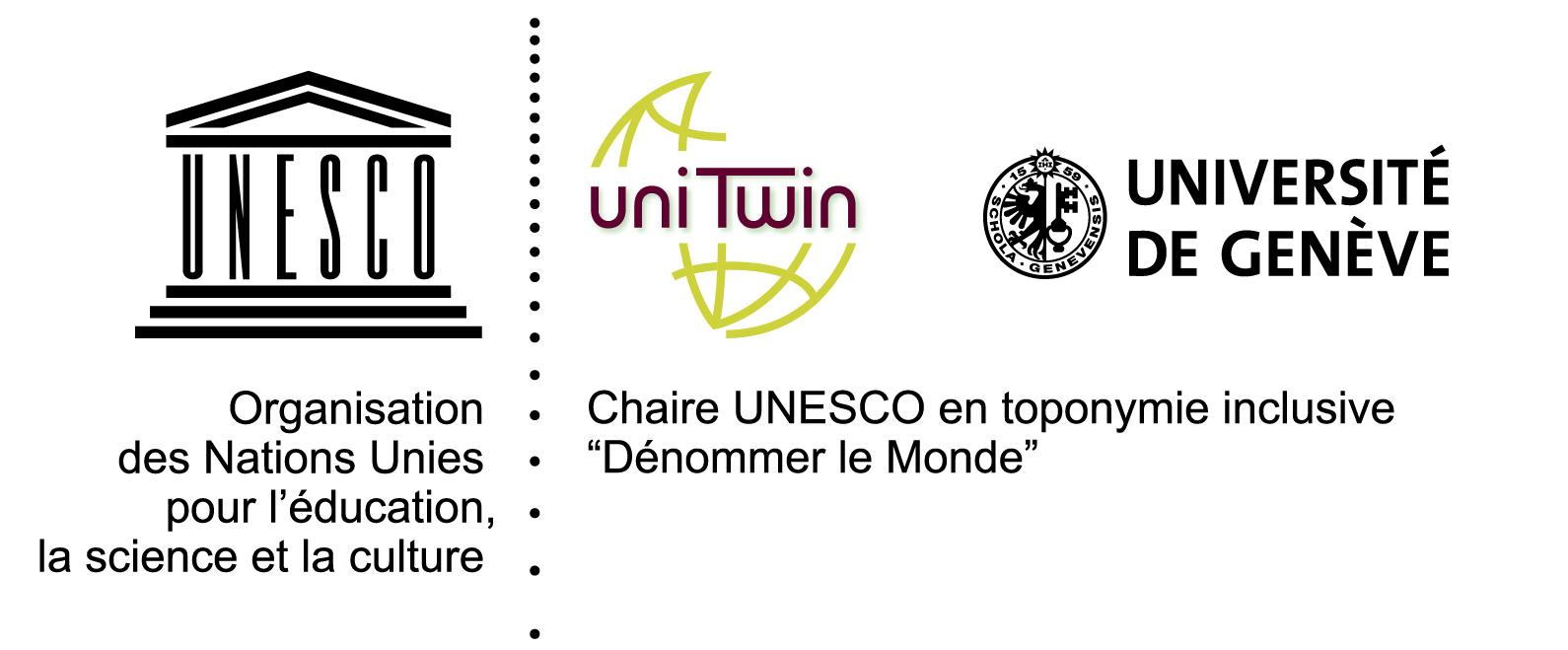 """Logo de la Chaire Unesco en toponymie inclusive """"Dénommer le Monde"""""""